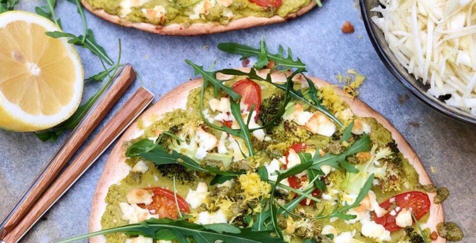 Tortillapizza med ärthummus och citron